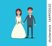 bride and groom on wedding... | Shutterstock .eps vector #1649920132