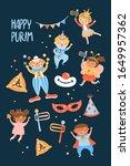 purim carnival greeting card... | Shutterstock .eps vector #1649957362