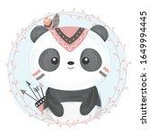 watercolor panda illustration.... | Shutterstock .eps vector #1649994445