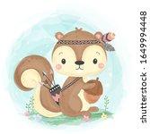 watercolor style squirrel...   Shutterstock .eps vector #1649994448