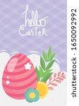 happy easter striped pink egg... | Shutterstock .eps vector #1650092992