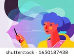 concept banner with woman using ... | Shutterstock .eps vector #1650187438