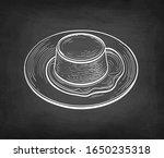 creme caramel. chalk sketch on... | Shutterstock .eps vector #1650235318