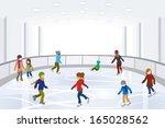 people ice skating on indoor... | Shutterstock .eps vector #165028562