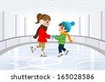 two kids in indoor skating rink | Shutterstock .eps vector #165028586