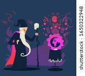 evil wizard casting spell on... | Shutterstock .eps vector #1650322948