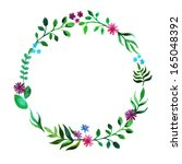 watercolor floral wreath circle | Shutterstock . vector #165048392
