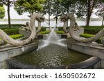 Four Snake Statues On An Activ...