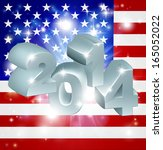 American flag 2014 background. New Year or similar concept - stock vector