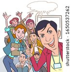 young working team take a photo ... | Shutterstock .eps vector #1650537262