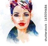 watercolor fashion illustration ... | Shutterstock . vector #165054686