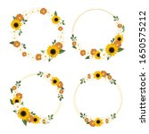 yellow sunflower wreath with... | Shutterstock .eps vector #1650575212