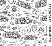 salad seamless pattern. bowl of ... | Shutterstock .eps vector #1650587815