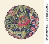 fantasy flowers in retro ...   Shutterstock .eps vector #1650610258