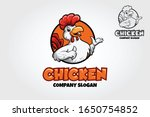 chicken mascot logo. a happy... | Shutterstock .eps vector #1650754852