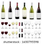 full and empty wine glasses.... | Shutterstock .eps vector #1650795598