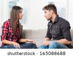 quarreled young couple in their ... | Shutterstock . vector #165088688