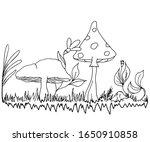 Linear Drawing Of Mushrooms ...