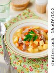 Small photo of Russian Sauerkraut Soup, Shchi (Stchi) with Turkey, copy space for your text
