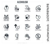 alcoholism thin line icons set. ... | Shutterstock .eps vector #1650989698