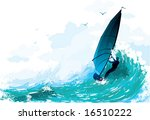 the surfer floating on waves | Shutterstock .eps vector #16510222