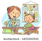 child and teacher or mother... | Shutterstock .eps vector #1651043542
