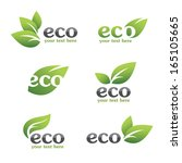 set of ecology icons with green ... | Shutterstock .eps vector #165105665