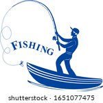 silhouetted fisherman with a...   Shutterstock .eps vector #1651077475