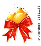 Christmas decoration / bow and balls / vector illustration - stock vector