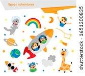 vector set of space adventures  ... | Shutterstock .eps vector #1651200835