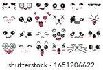 kawaii cute faces. manga style... | Shutterstock .eps vector #1651206622