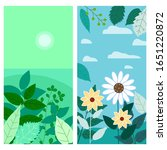 set of floral spring leaves and ... | Shutterstock .eps vector #1651220872
