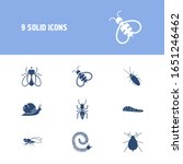 insects icon set and aphid with ...