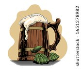 beer classic wooden mug or... | Shutterstock .eps vector #1651278982
