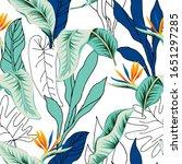 tropical strelitzia flowers ... | Shutterstock .eps vector #1651297285