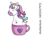head of cute unicorn fantasy in ... | Shutterstock .eps vector #1651417972