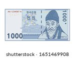 korean banknote. the letters... | Shutterstock .eps vector #1651469908