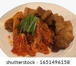 Isolated Dwaeji Bulgogi, Korean cuisine dish of Barbecue pork with spicy Gochujang sauce