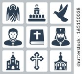 vector christian religion icons ... | Shutterstock .eps vector #165150038