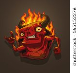 red devil with fire  vector   Shutterstock .eps vector #165152276