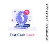 fast cash loan  coins stack ... | Shutterstock .eps vector #1651552615