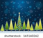 christmas forest in the night   ... | Shutterstock .eps vector #165160262