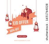 eid sale poster design with 50  ... | Shutterstock .eps vector #1651764028