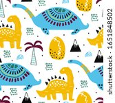 pattern with dino dinosaur with ... | Shutterstock .eps vector #1651848502