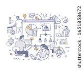 colleagues  team members work... | Shutterstock .eps vector #1651858672