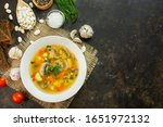 Soup With Mushrooms And Herbs...
