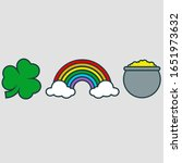 shamrock  rainbow  and pot of... | Shutterstock .eps vector #1651973632