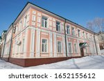 Small photo of SARANSK, RUSSIA - FEBRUARY 16, 2020: Historic building (The first philistine city school.) in Saransk. Сurrently in this building located Federal Tax Service.