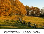 Fall Leaves During Sunset Over...