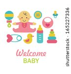newborn card design. vector... | Shutterstock .eps vector #165227336